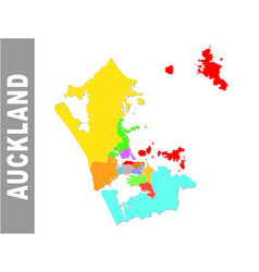 Colorful auckland administrative map vector