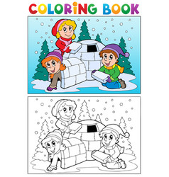 coloring book winter topic 4 vector image