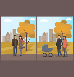 couples and family man and woman with child vector image