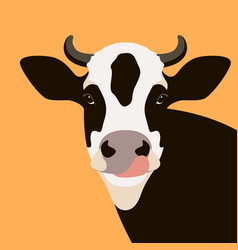 cow face flat style front vector image