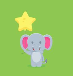 Cute elephant holding balloon free vector