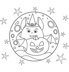 Cute fat bat in a magic hat and halloween pumpkin vector