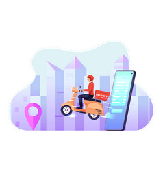 delivery man ride motorcycle come out from vector image