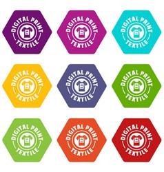 Digital print textile icons set 9 vector