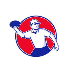 Disc golf player throwing mascot circle vector