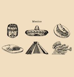 drawn set famous mexican attractions vector image