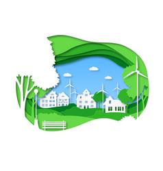 Eco city save energy green technology solar vector