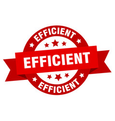 efficient ribbon efficient round red sign vector image