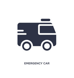 Emergency car facing right icon on white vector