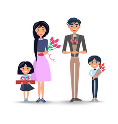 family with bouquets and present vector image