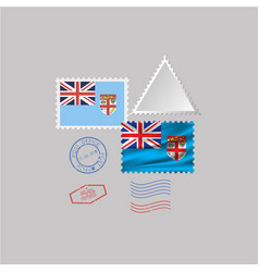 Fiji flag postage stamp set isolated on gray vector