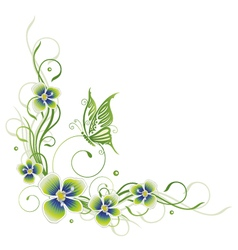 Flowers spring butterfly vector image