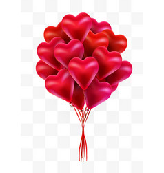flying bunch of red balloon hearts on transparent vector image