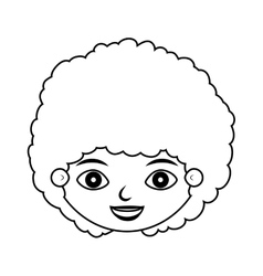 Front face child silhouette with curly hair vector