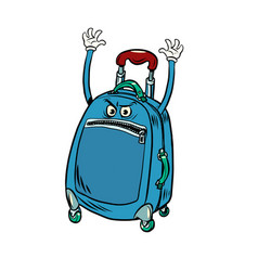 Funny angry tourist suitcase with raised hands vector