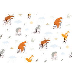 funny animals riding bicycles seamless pattern vector image