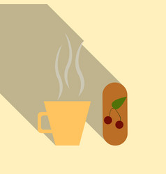 Funny coffee with coffee with dessert on the kick vector