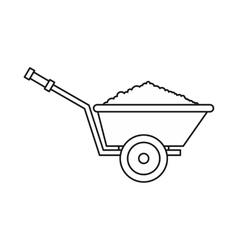 Garden wheelbarrow icon outline style vector image