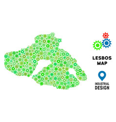 Gears greek lesbos island map composition vector
