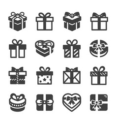 gift box icon set black on white background vector image
