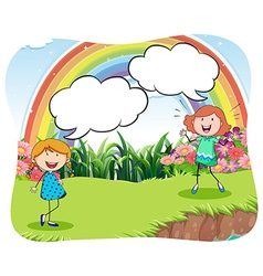 Girls in the park with bubble speech vector