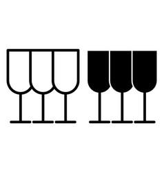 Glasses line and glyph icon stemware vector