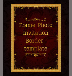 gold photo frame with corner vector image