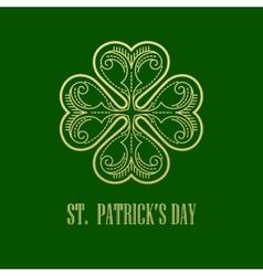 Golden shamrock patrick day symbol vector