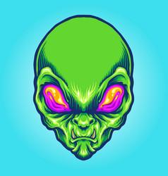 Green alien head angry mascot vector