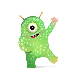 Green alien monster with antennas greeting for kid vector