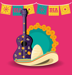 guitar instrument day of the dead party vector image