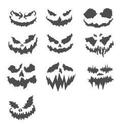 halloween scary pumpkin faces vector image