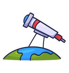 hand drawn telescope doodle icon on earth vector image