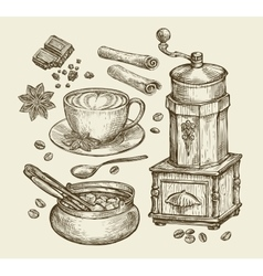 Hand drawn vintage coffee grinder cup beans vector