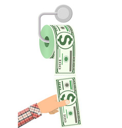 Hank toilet paper dollar money vector