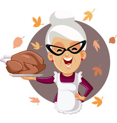 happy senior woman holding homemade thanksgiving vector image