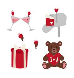 happy valentine day flat design love wedding items vector image