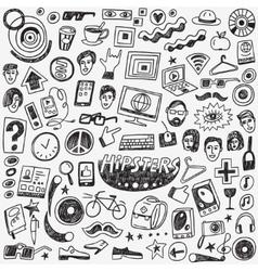 hipsters doodles set vector image