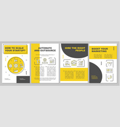 How to scale startup yellow brochure template vector