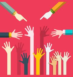 human hands flat design togetherness concept help vector image