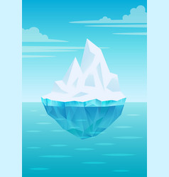 iceberg floating on water waves with underwater vector image