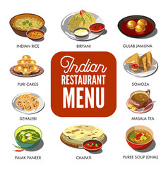 Indian cuisine food traditional dishes flat vector