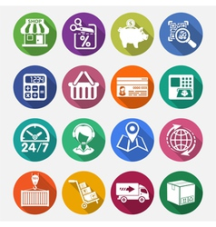 Internet Shopping and Delivery Flat Icon Set vector image