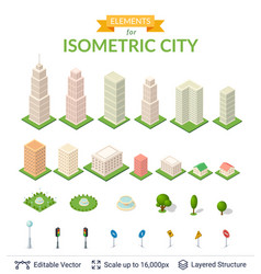 isometric city icon set vector image