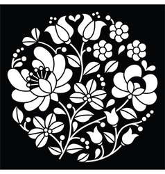 Kalocsai white embroidery - Hungarian round floral vector image