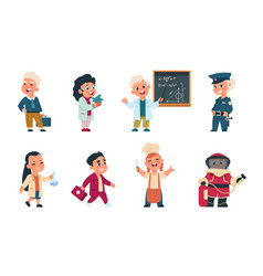 Kids professions cartoon cute children dressed in vector