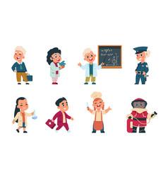 Kids professions cartoon cute children dressed vector