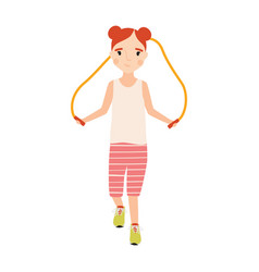 little happy girl dressed in sportswear with vector image