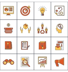 Marketers flat line icons set vector image