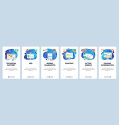 Mobile app onboarding screens phone application vector